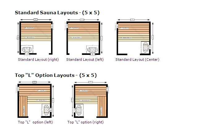 Standard Sauna Layouts 5x5