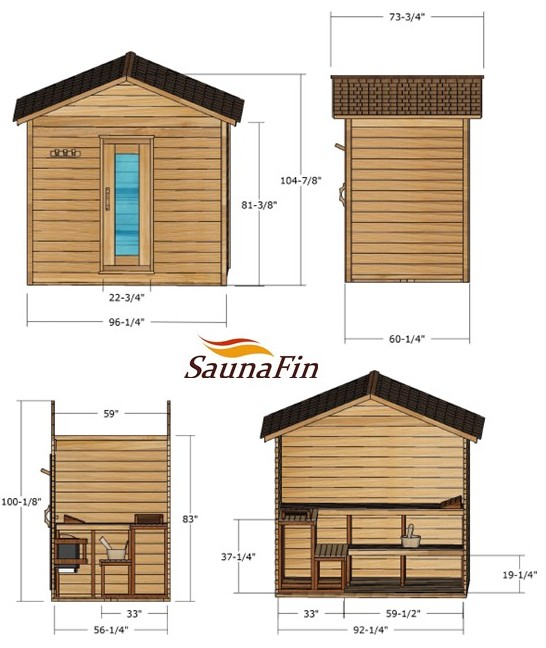 5x8 Outdoor Log Cabin Saunafin