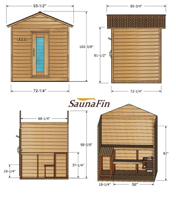6x6 Outdoor Log Cabin Saunafin