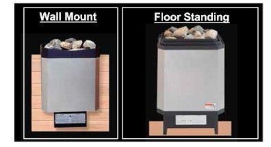 wall mounted and floor standing sauna heaters
