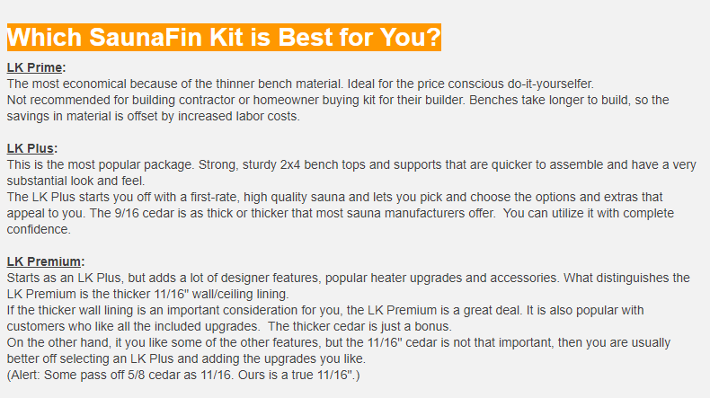 Which SaunaFin Sauna Material Kit is Best for You